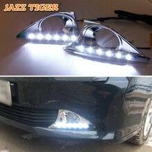 Джаз тигр 2 шт. автозатемнение Функция 12 В вождение автомобиля светильник светодиодный дневного света DRL для Toyota Camry 2012 2013 2014