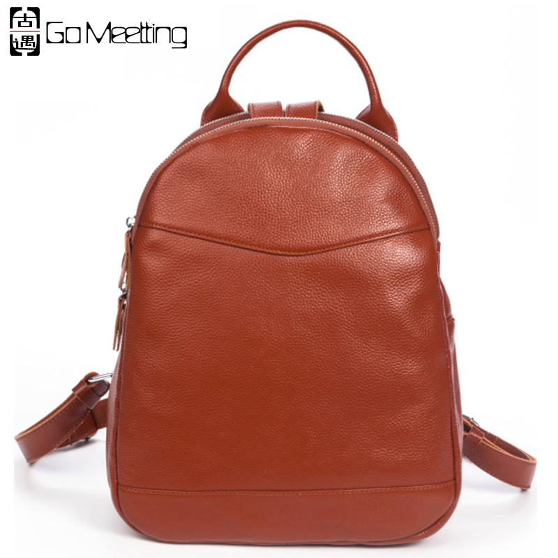 Go Meetting Genuine Leather Women's Backpack High Quality Cowhide Women Shoulder Bag Double Zipper Design Travel Backpacks WB20 go meetting fashion women waterproof oxford backpack famous designers brand shoulder bag leisure travel backpacks for girl
