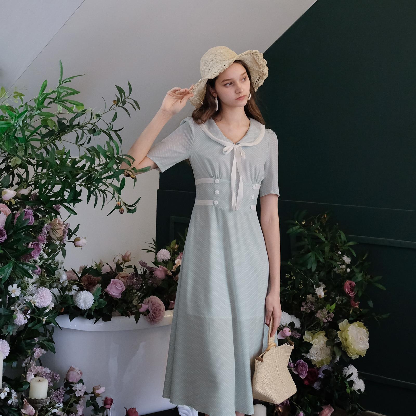 Summer Clothes For Women Elbise Vintage Elegant Chiffon Dress Polka Dot Retro Modis vestidos verano 2019
