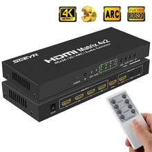 4 K x 2 K HDMI True Matrix Switch 4 x SGEYR 2 HDMI Splitter Switcher Matriz 4 Em 2 fora com IR Remoto Óptico + Extrator de Áudio de 3.5mm