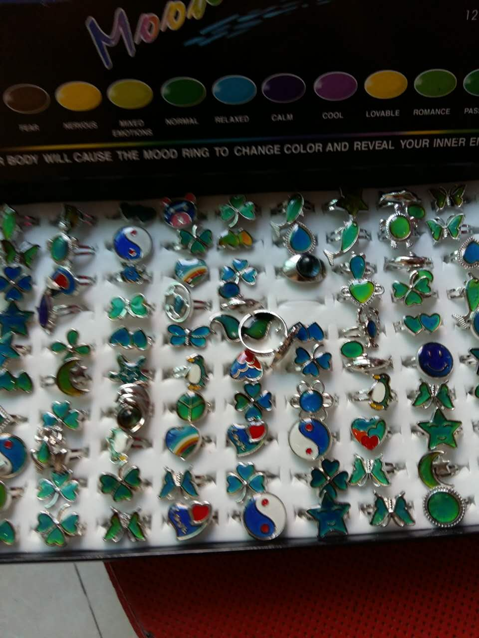 Mixed design mood ring open ring dolphins hearts butterfly lobster smiling face chang color ring