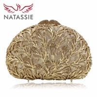 NATASSIE New Women Purse Shaped Luxury Crystal Evening Wedding Bags Party Clutch Bag Diamonds Orange Gold Silver