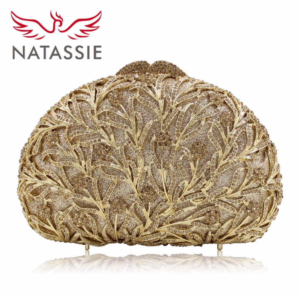 NATASSIE New Women Shell Shaped Luxury Crystal Evening Handbag Wedding Party Clutch Bag Diamonds Orange Gold Silver LX010 natassie new design luxury crystal clutch women evening bag gold red ladies wedding banquet party purses good quality