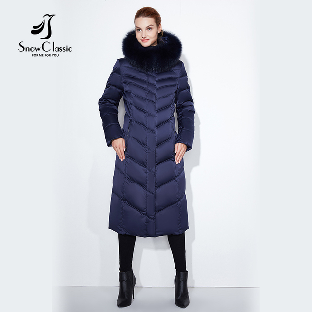 Snowclassic 2017 леди большие размеры меховой воротник шляпу длинное тело Хлопчатобумажная Куртка Теплая холодной моды в полоску 17252