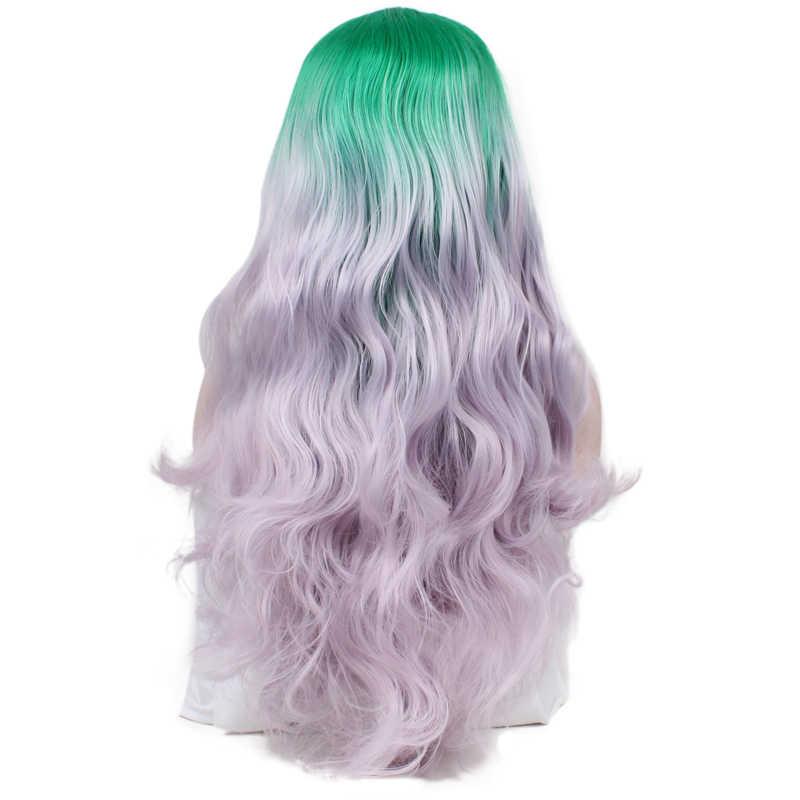 JOY & BEAUTY ручная привязанная зеленая светло-фиолетовая Омбре высокотемпературная волоконная волосы длинные волнистые бесклеевые синтетические волосы на кружевном фронте парик для женщин