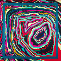 Fashion New 100 Women Silk Scarf Geometric Whirlpool Wave Abstract Paint Scarves Headscarf Silk Square Scarf