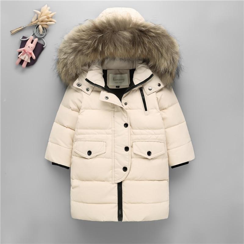 2018 manteau d'hiver chaud épais garçons Parkas enfants doudoune pour fille fourrure naturelle à capuche adolescente garçon Snowsuit TZ291