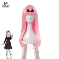 ROLECOS Anime Kaguya sama: Love is War Cosplay Hair Chika Fujiwara Cosplay Long Pink 65cm Hair Heat Resistant Synthetic Hair