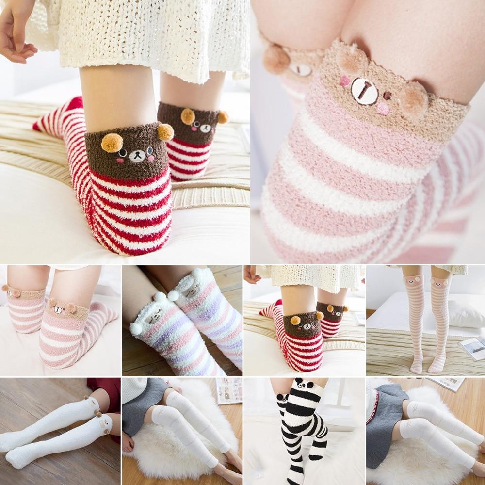 Girls Socks Over Knee Grey Fur Kitten Winter Inspiring For Holiday