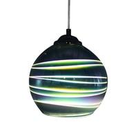 Wonderland LED Pendant Lamp 3D Colorful Streak Glass Drop Lights Chrome Lampshade Creative for Foyer Study Kitchen Living Room