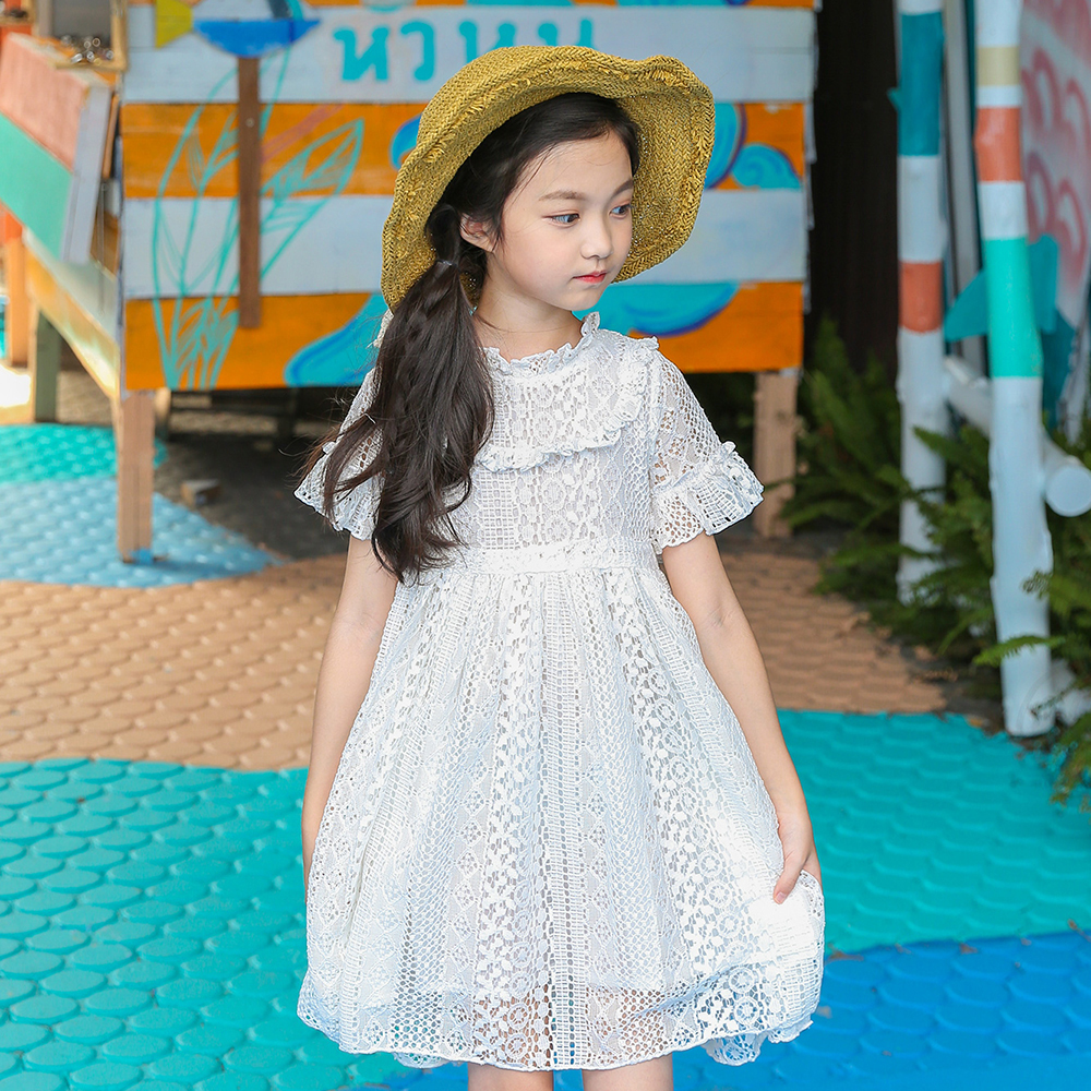 B-S181 New Fashion Spring Girls Casual Dresses Summer Short Sleeve Princess Dress 5-14T Teenager Kids Solid Color Lace Dress