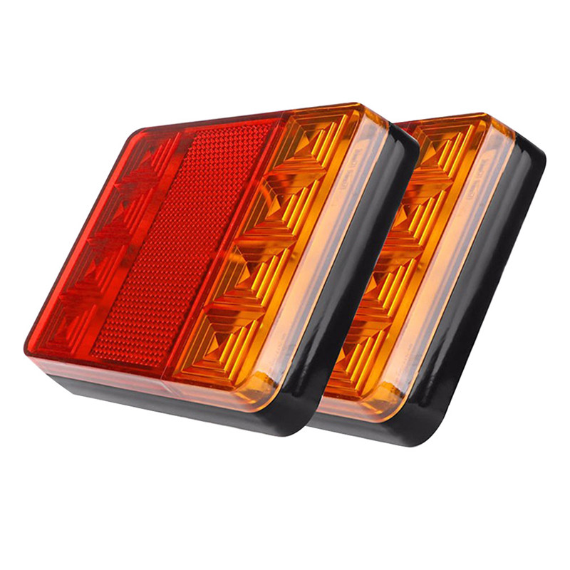 2pcs 12V Car Truck LED Rear Tail Light Warning Lights Rear Lamps Waterproof Auto Vehicle Trailer Signal Lamp Taillight Universal