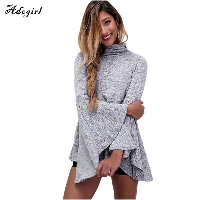 Adogirl Flare Sleeve Grey Girls Blouse Shirt Women Tops Autumn Winter Cotton Chic Turtleneck Blusas OL