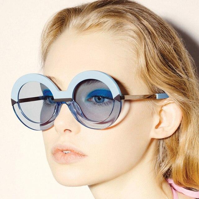 Новое поступление женщин большие солнечные очки чистый мори девушка стиль стрелка формы зеркало урожай круглый 60 S женского обернуть леопарда солнцезащитные очки