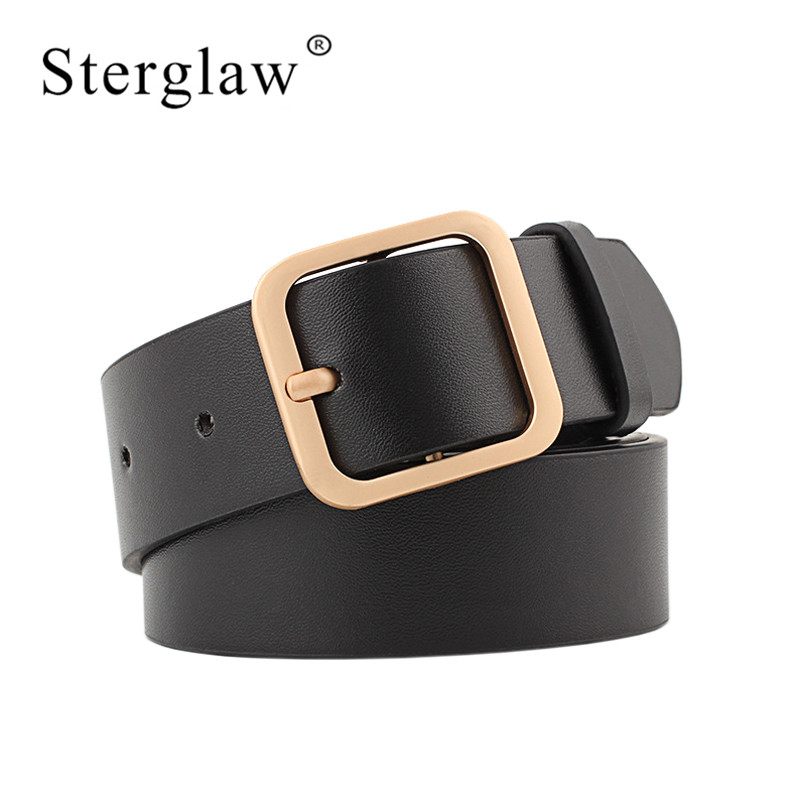 90-110x3.3cm New Wide Leather Waist Strap Belt High Quality Women Gold Square Pin Metal Buckle Belts Woman Belts For Jeans N052