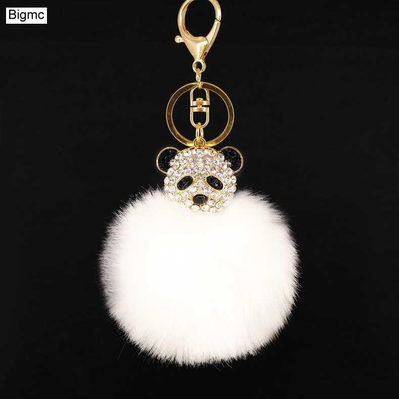 PomPom De Pele De atacado chaveiro Saco Panda Strass Chaveiros anel Chave Das Mulheres Saco de Acessórios de Moda Rosa Chaveiro K1667