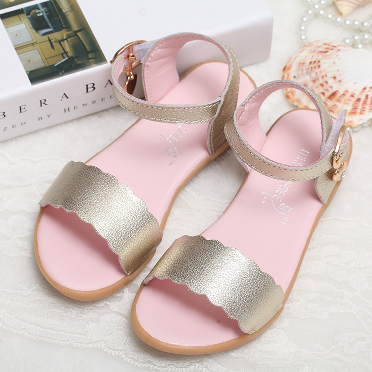 Summer Children Genuine Leather Sandals Girls New Roman Rivets Sandals Girls Flat Solid Color Fashion Sandals