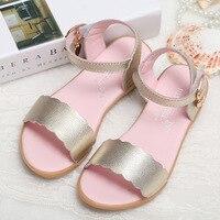 Summer Children Genuine Leather Sandals Girls New Roman Rivets Sandals Girls Flat Solid Color Fashion Sandals
