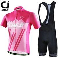 CHEJI Cycling Jersey And Bibs Set Men Bicycle Kits Suit Pink High Visibility MTB Shirts Top