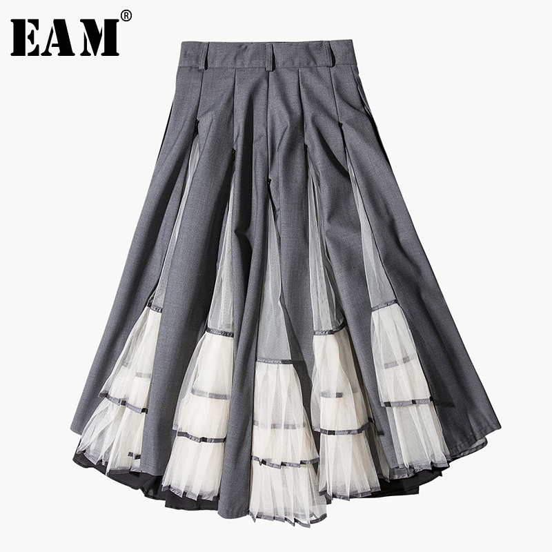EAM 2019 New Spring Summer High Elastic Waist Gray Pleated Hit Color Split Joint Half