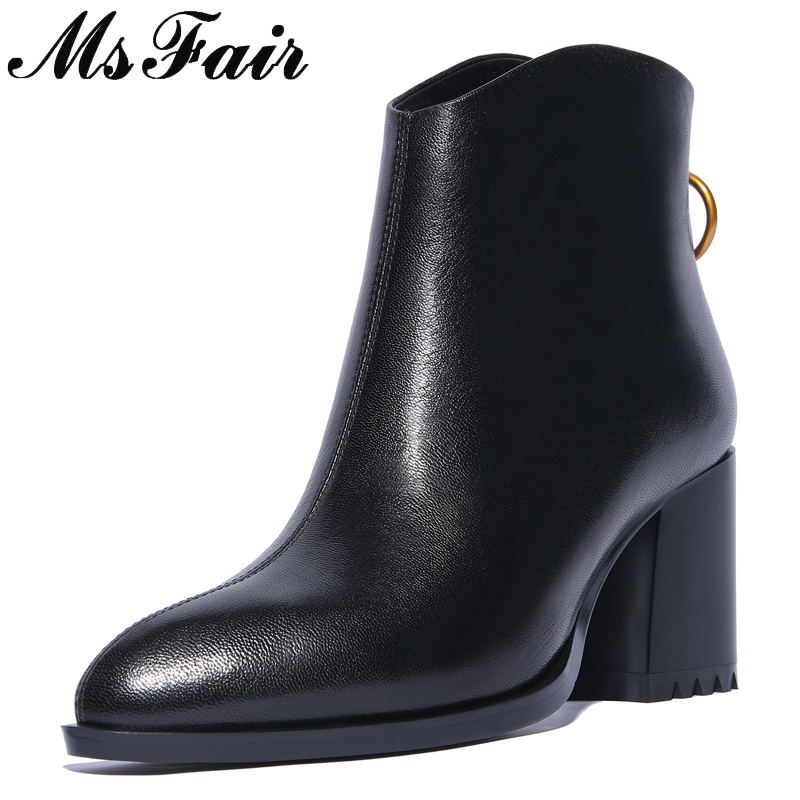 MSFAIR Pointed Toe Square heel Women Boots Fashion Zipper Ankle Boots Women Shoes High Heel Genuine Leather Boots Shoes Woman msfair pointed toe high heel women boots genuine leather rivet ankle boots women shoes elegant black ankle boots shoes woman