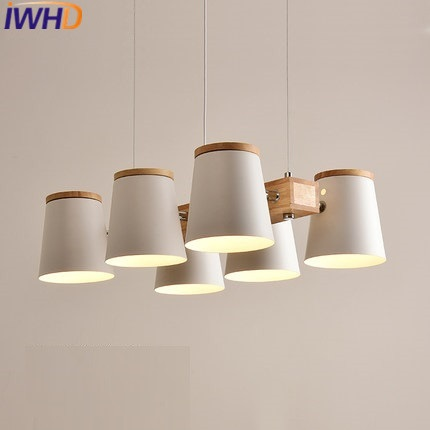 IWHD 6 Heads Iron Hanging Lamp Modern Brief Wood Pendant Lights Home Lighting Fixtures Kitchen Bedroom Light Lamparas Lustre iwhd led pendant light modern creative glass bedroom hanging lamp dining room suspension luminaire home lighting fixtures lustre