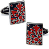 BD45 Square Glass Red Flower Cufflinks Copper Silver Men Shirt Button Jewelry Gift
