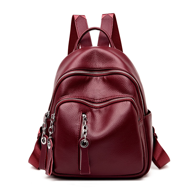 2018 Women Leather Backpacks Casual Female Shoulder Bag Sac a Dos Travel Ladies Zipper Bagpack Mochilas School Bags For Girls backpack mochila feminina mochilas school bags women bag genuine leather backpacks travel bagpack mochilas mujer 2017 sac a dos