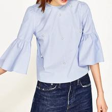 Yfashion Pearl Flare Sleeve Blouse Women Cotton Fashion Female Solid Blouses Round Collar Tops Clothes