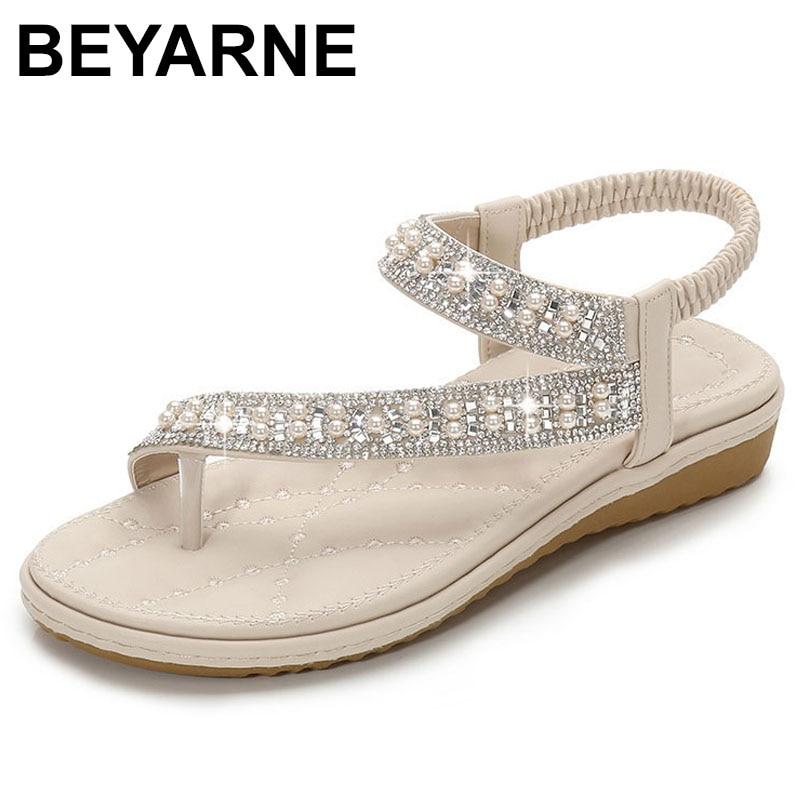 BEYARNEwedding Women Sandals Flat Summer Crystal Diamond Big Size Plus Slip On Bridal White Wide Fit Bling Pearl Toe Ring Shoes