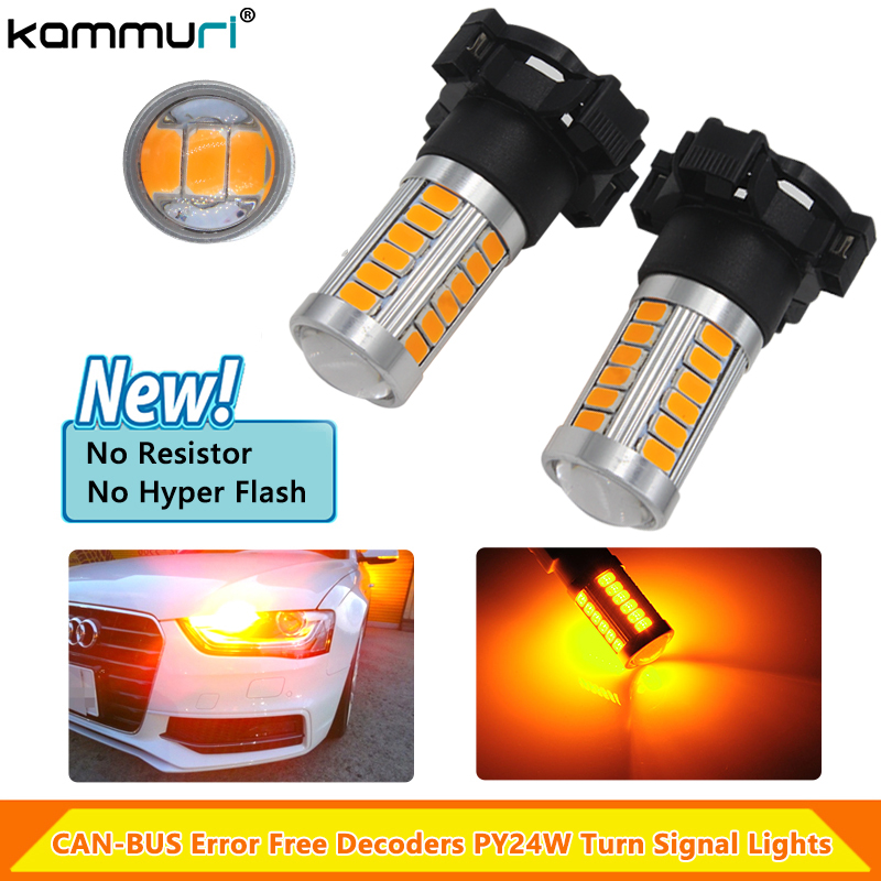 KAMMURI Amber CAN-bus PY24W 5200s LED Bulb Front Turn Signal Lights For BMW E90 E91 E92 E93 328i 335i M3 X5 E70 X6 E71 F10 F07 цена