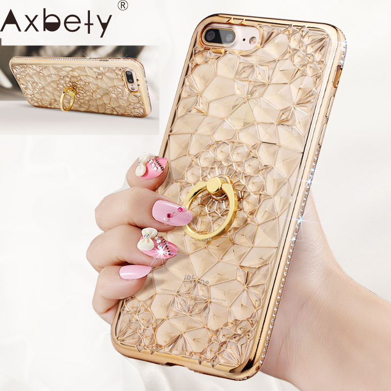 Axbety Case For iPhone 7 8 6 6S XR XS MAX Case Luxury Gold Glitter Pyramid Soft Cover For iPhone 7 Plus Diamond Ring Phone Case(China)