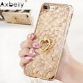Funda Axbety para iPhone 7, 8, 6, 6 S, XR, XS MAX, lujosa funda de mármol con brillo dorado para iPhone 7 Plus caja del teléfono del anillo del diamante