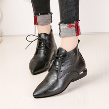Leather Low High Heels Pointed Toe Rubber  Boots PU27