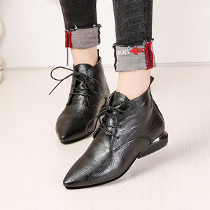Image 4 - 2020 Fashion Women Boots Casual Leather Low High Heels Spring Shoes Woman Pointed Toe Rubber Ankle Boots Black Red Zapatos Mujer
