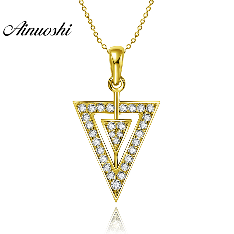 AINUOSHI 10K Solid Yellow Gold Pendant Arrow Pendant SONA Diamond Women Men Jewelry Double Triangle Arrow 1.9g Separate Pendant chic solid color arrow triangle hairpin for women