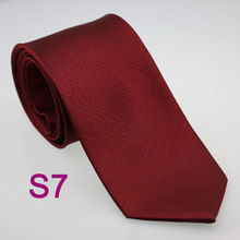 Necktie - Woven Jacquard silk in solid burgundy red Notch xf3FMVi5