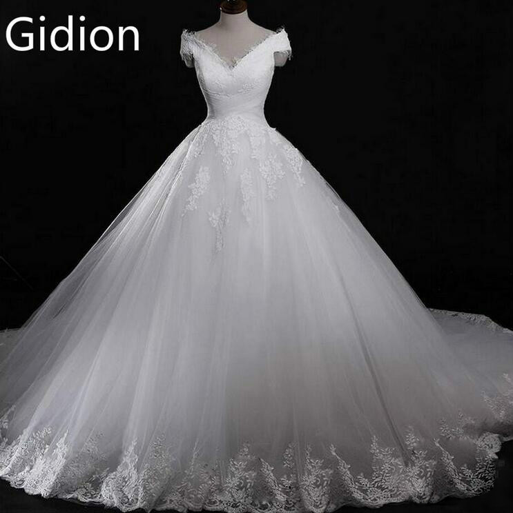 Real Pictures 2016 Ball Gown v neck short Sleeve Appliques Bridal Dresses vestido de noiva Lace Cheap Wedding Dress custom made