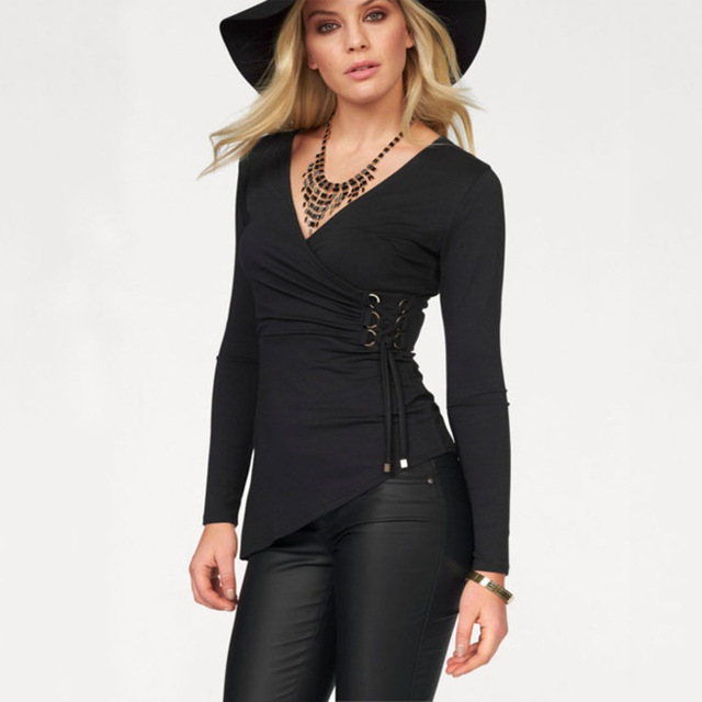 Long Sleeve T Shirt Women V Neck Ruched Side Lace-up Asymetric Black Autumn  T 948bb2b0d