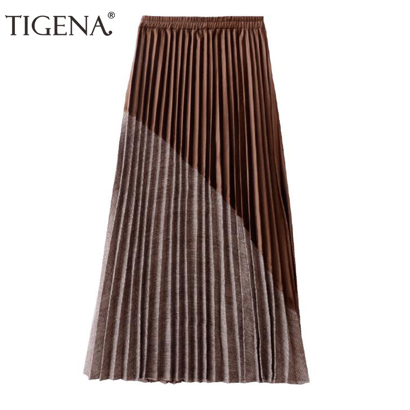 Image 2 - TIGENA New Arrivals Patchwork Suede Pleated Skirts Women 2019 Autumn Winter High Waist Vintage Plaid Long Maxi Skirt Female-in Skirts from Women's Clothing