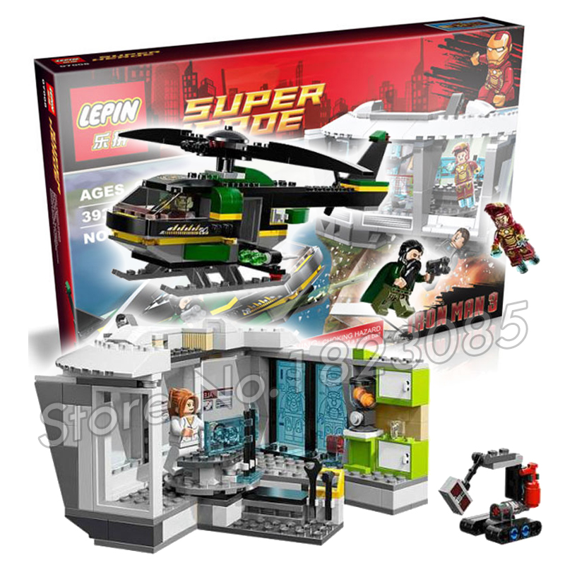 ФОТО 393pcs Captain America Iron Man Malibu Mansion Attack Block Set Winter Soldier DIY Building Blocks Toys Compatible with Lego