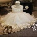 2015 новые летние цветы жемчужина воротник белый цветок девочки платья симпатичные принцесса девушки pageant платья платье 2 ~ 14 лет подростки