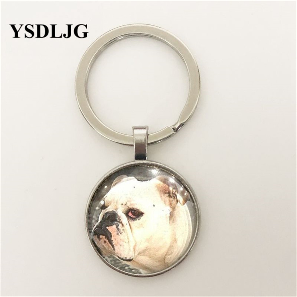 Key To My Heart Bulldog! Glass Dome, Pendant & Chain, 100% Donated to Charity Glass Cabochon Keyring Gift for Women Pendant image