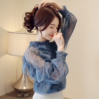 muke Elegant Woman Top Long Sleeve Spring Summer Stand Collar Red Female Blouse Lace Woman Shirts