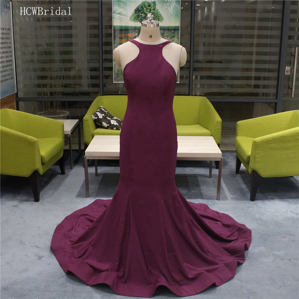 Sexy Purple Mermaid Backless   Prom     Dresses   2019 Elastic Satin Floor Length Simple Long Evening Gowns Custom Made Robe De Soiree