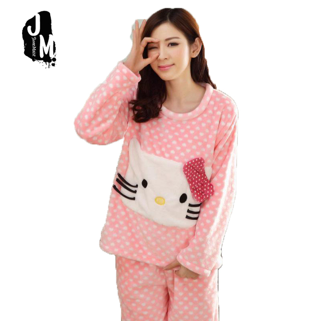08d5452f686a Winter thick flannel pajamas suit women cartoon hello ketty Soft Cotton Pajamas  Women Sleepwear Sets Girls Home Nightgown
