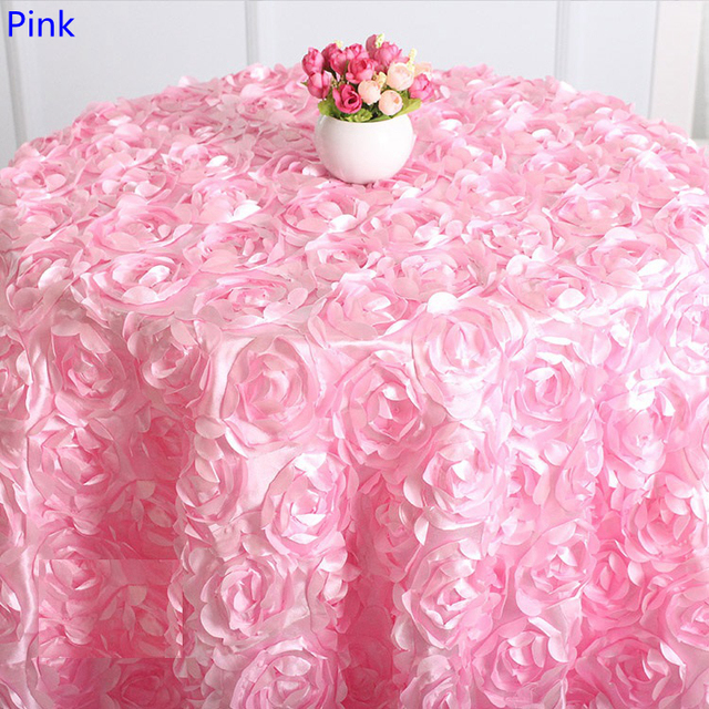 Pink Round Table.Us 15 0 Pink Colour Wedding Table Cloth Embroider Rosette Flower 3d Table Cover Hotel Banquet Party Round Tables Decoration On Sale In Tablecloths