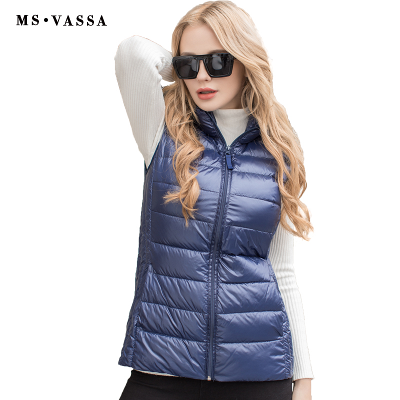 MS VASSA ladies vest Spring light down women vest plus over size S-7XL quilting vest wing collar blue color high quality vest columbia women s mighty lite iii vest