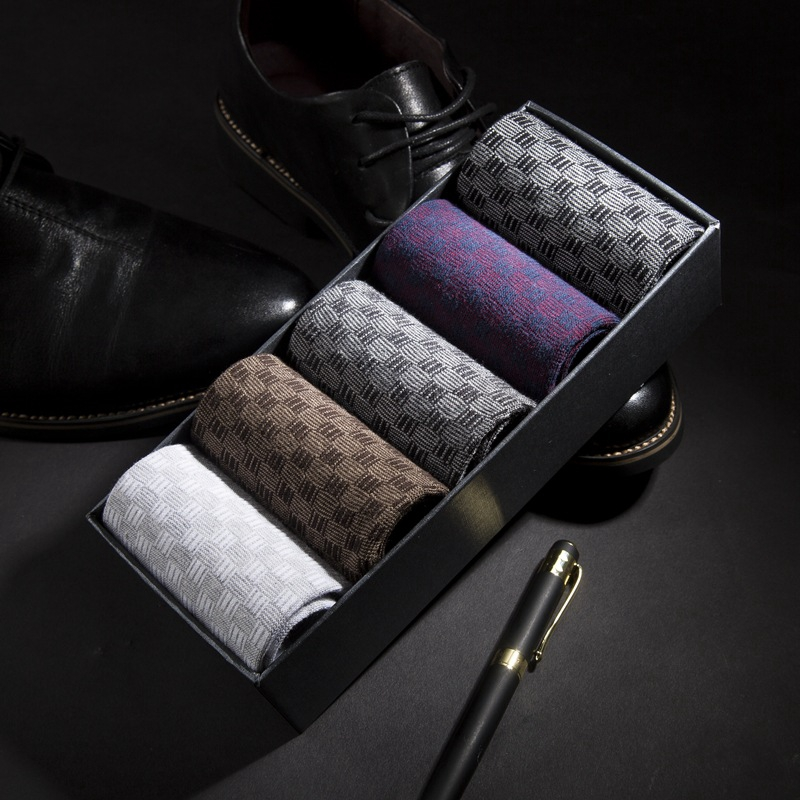 2019 High Quality Cotton   Socks   Men Diamond Plaid Crew   Socks   Harajuku Dress Gifts   Socks   Long For Men Meias 5Pair Size:38-43 lot