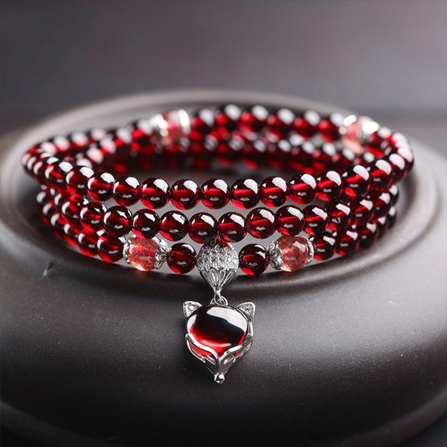 Wine Red Garnet Bracelets For Women Natural Gemstone 925 Sterling Silver Jewelry Fox Gourd Pixiu Snowflake Charm Best Gift Girls